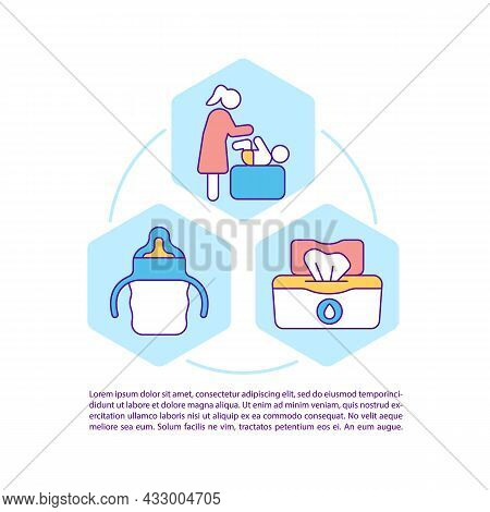 Newborn Hygiene Concept Line Icons With Text. Child Care. Ppt Page Vector Template With Copy Space.