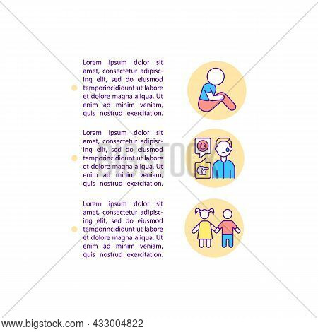 Socialization Struggles Concept Line Icons With Text. Ppt Page Vector Template With Copy Space. Broc