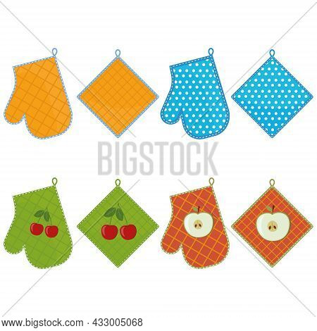 Oven Mitt And Oven Mitt, Color Isolated Vector Illustration In The Flat Style