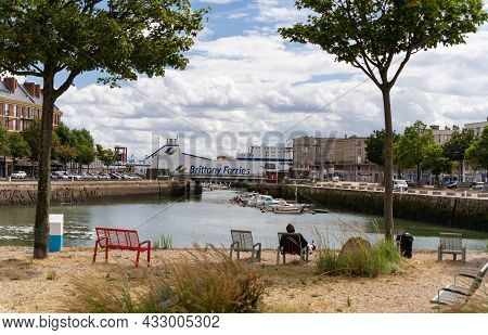 Le Havre, France - August 8, 2021: Brittany Ferries Is The Trading Name Of The French Shipping Compa
