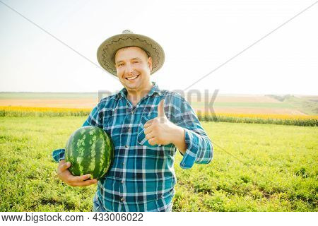 Satisfied Farmer With His Thumb Up And Looking At The Camera, Watermelon In Hand And Hat On His Head
