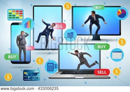 Online currency trading concept with business people