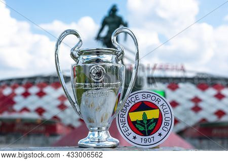 June 14, 2021, Istanbul, Turkey. The Emblem Of The Football Club Fenerbahce S.k. And The Uefa Champi