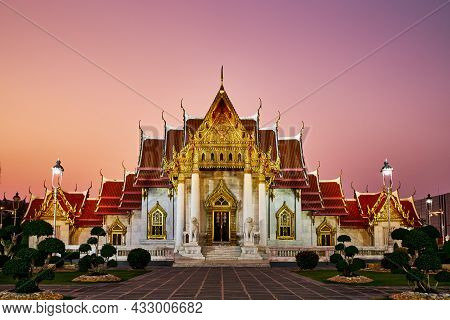 Wat Benchamabophit Dusitvanaram Temple, Marble Temple At Twilight, Destination Place And Landmark Fo