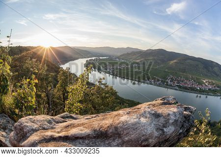 Panorama Of Wachau Valley (unesco World Heritage Site) With Danube River At Colorful Sunset Against