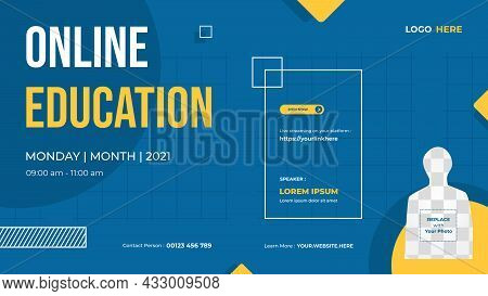 Website Banner Template For Online Education, Online Class Programs, Courses And Other E-learning Wi