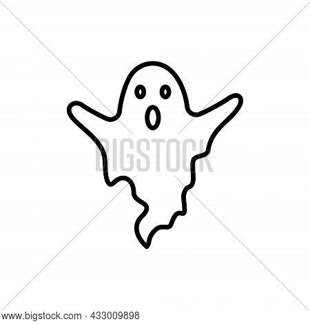 Cute Halloween Ghost Line Icon. Spooky And Scary Monster Halloween Outline Pictogram. Funny Dark Gho