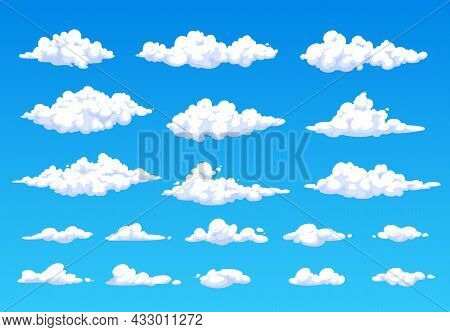 Cartoon Fluffy White Clouds In Blue Sky. Vector Summer Cloudscape, Clouds In Heaven. Soft And Spindr