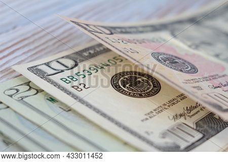 Ten And Twenty Dollar Bills Closeup. Macro View. Shallow Depth Of Field