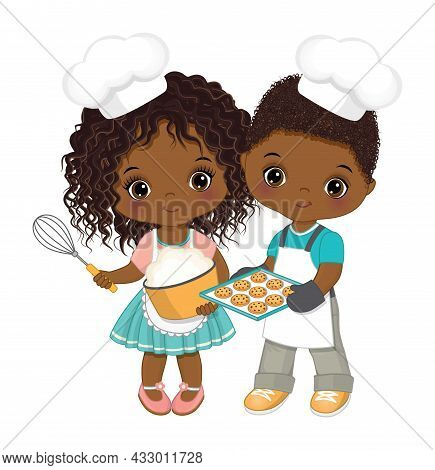 Cute Little African American Kids Wearing Chef Toque And Apron Baking Cookies. Cute Black Kids Makin