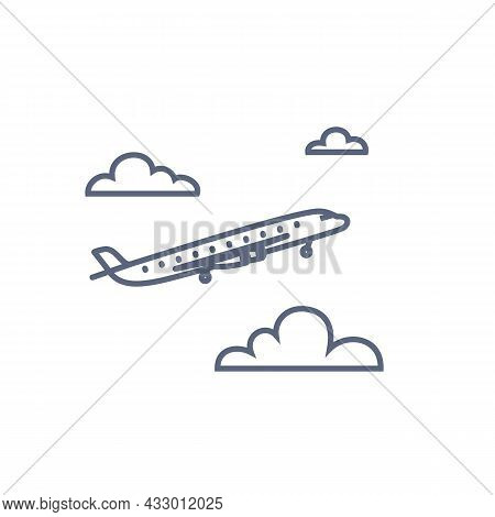 Plane Line Icon. Flying Airplane In The Sky Vector Pictogram. Outline Style Vector Illustration On W