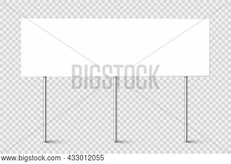 Blank Board With Place For Text, Protest Sign Isolated On Transparent Background. Realistic Demonstr