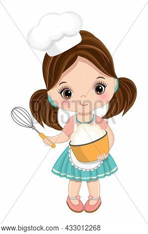 Cute Little Girl Wearing Chefs Toque And Apron Mixing Flour In Bowl. Cute Girl Is Brunette With Haze