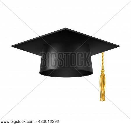 Graduate Cap With Tassel. Isolated University, College Or Academy Student Square Hat With Golden Tas