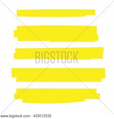 Highlight Brush Underline Yellow Marker Vector Pen. Stroke Highligher Color Set