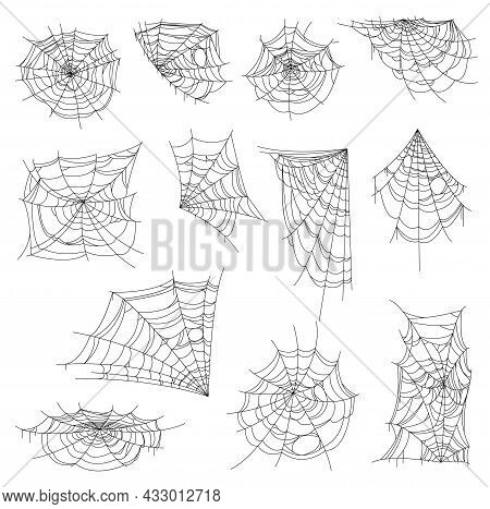 Halloween Web, Spiderweb And Cobweb Set. Isolated Vector Spider Nets, Round, Corner And Half Shape W