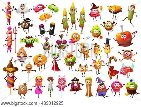 Halloween Cartoon Funny Candies, Lollipop Witch Fingers, Candy Corns And Cupcakes, Vector Characters