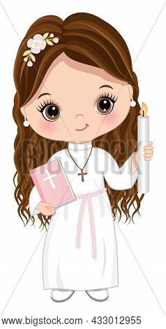 First Communion For Girl. Cute Girl Is Brunette With Long Hair And Hazel Eyes Holding Holy Bible And
