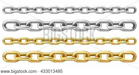 Realistic Golden And Silver Chains Isolated On White Background. Metal Chain With Shiny Gold Plated