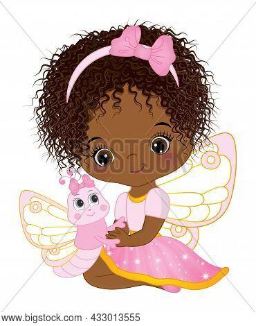 Cute Little African American Fairy Wearing Pink Dress Holding Baby Butterfly. Little Fairy Is Cute W