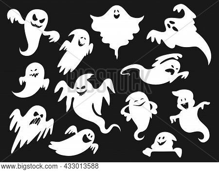 Halloween Cartoon Spooky And Scary Ghosts, Spirit And Ghoul Monsters, Vector White Silhouettes. Hall