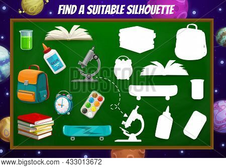 Find Suitable School Item, Game Worksheet With Stationery, School Board And Galaxy Space Planets, Ve