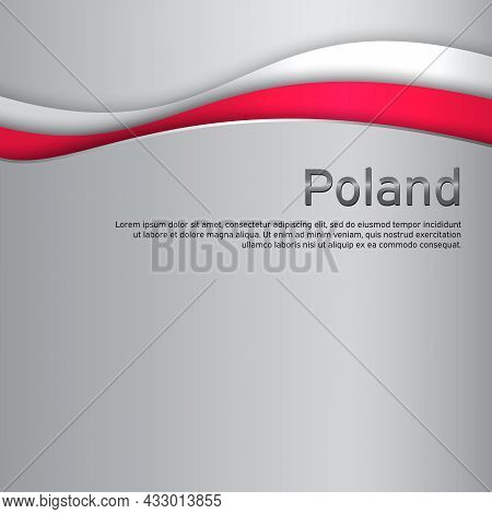 Cover, Banner In National Colors Of Poland. Abstract Waving Poland Flag. Paper Cut Style. Patriotic