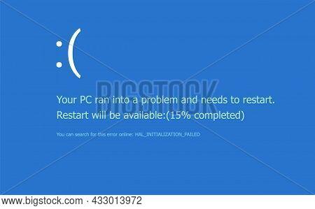 Bsod Screen Death Error System Crash. Computer Bluescreen Bsod Operating System Alert