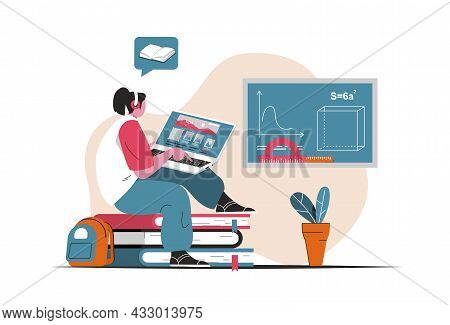 Distance Learning Concept Isolated. Online Education, E-learning, Training Webinar. People Scene In