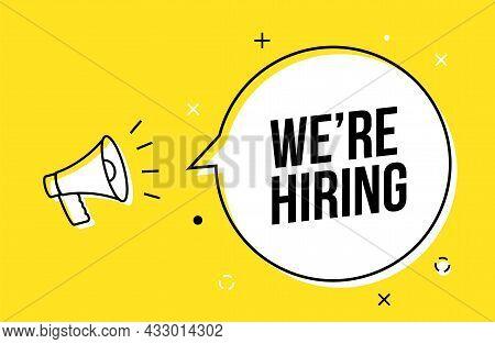Vector Hire Job Banner Hand Holding Megaphone Design. Hiring Background Business Announce Template
