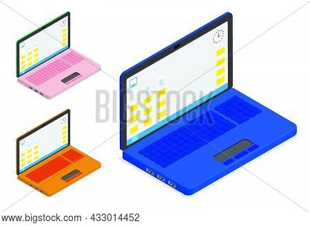Isometric Open Portable Laptop With Desktop. Modern Technology. Modern Portable Devices. 3d Vector O