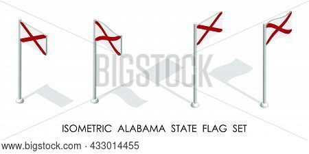 Isometric Flag Of American State Of Alabama In Static Position And In Motion On Flagpole. 3d Vector