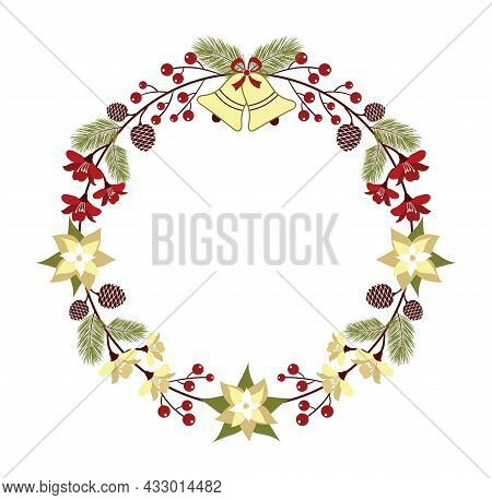 Beautiful Round Christmas Wreath Decorated With Jingle Bells, Poinsettia, Red Berries, Fir-tree Cone