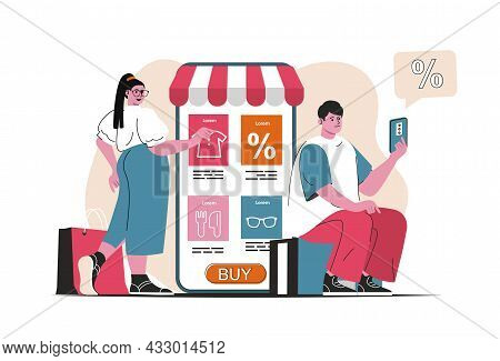 Online Shopping Concept Isolated. Purchases In Mobile App At Discounted Prices. People Scene In Flat