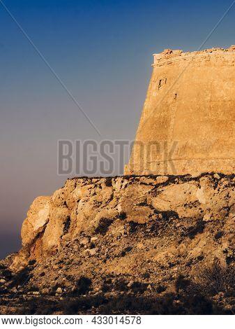 Mesa Roldan Watchtower, Cabo De Gata Nijar Natural Park In Almeria Province, Andalusia Spain. Touris