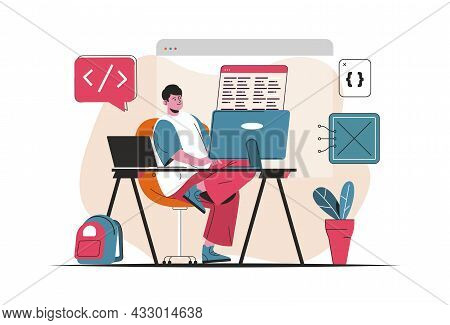 Programmer Working Concept Isolated. Creation And Development Of Software, Programs. People Scene In