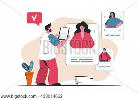 Recruitment Agency Concept Isolated. Candidate Resume Search, Human Resources. People Scene In Flat