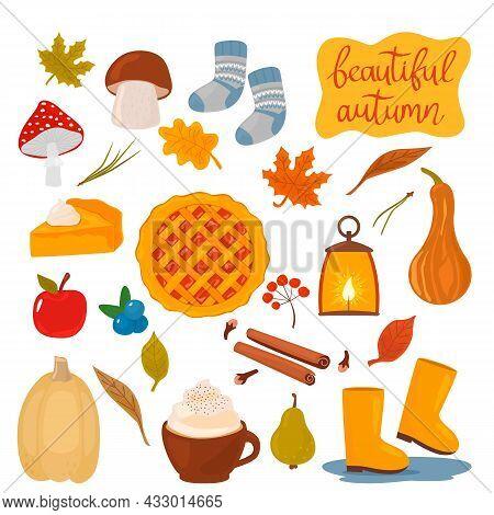 Set Of Autumn Icons - Pumpkin, Pumpkin Pie, Berries, Mushrooms, Rubber Boots, Warm Socks, A Cup Of C