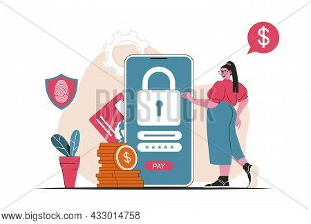 Secure Payment Concept Isolated. Protection Of Financial Transactions In Mobile App. People Scene In