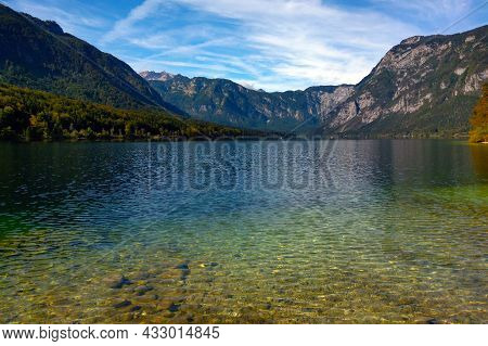 Beautiful Clear Clean Water In A Mountain Lake In Autumn