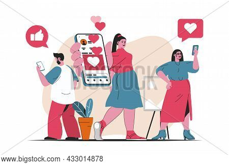 Social Network Concept Isolated. Social Media Users Chat, Like, Post In Mobile App. People Scene In