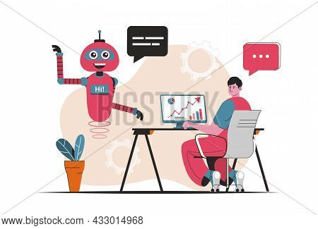 Virtual Assistant Concept Isolated. Customer Support By Bots Robots At Online Chats. People Scene In