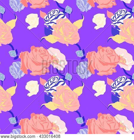 Pink spring floral pattern with roses purple background