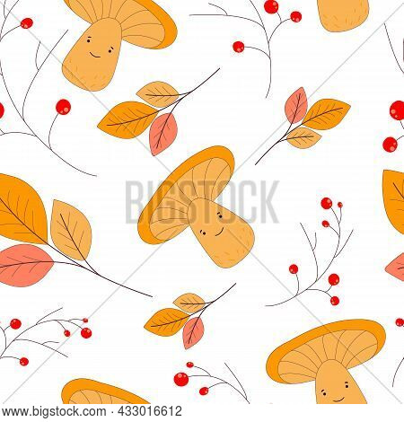 Seasonal Autumn Illustration. Seamless Cute Pattern With Chanterelles, Rowan And Leaves. For Your Au