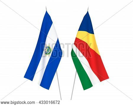 National Fabric Flags Of Seychelles And Republic Of El Salvador Isolated On White Background. 3d Ren