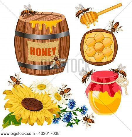 Vector Set With Honey And Bees.barrel And Jar With Honey, Bees, Flowers On A White Background In Vec
