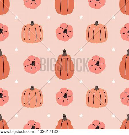 Adorable Kawaii Pumpkin Halloween Thanksgiving Seamless Pattern For Seasonal Fabrics And Prints.