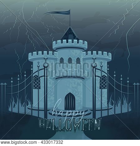 Haunted Castle With A Flag Halloween Poster Vector