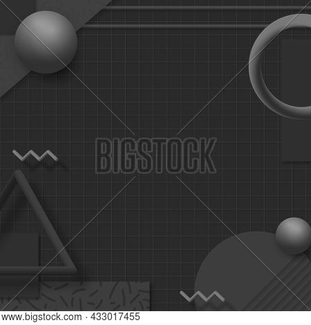 Black geometric Memphis social banner