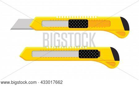 Cutter Knife Vector Blade. Paper Craft Utility Stationery Office Craft Cut Razor